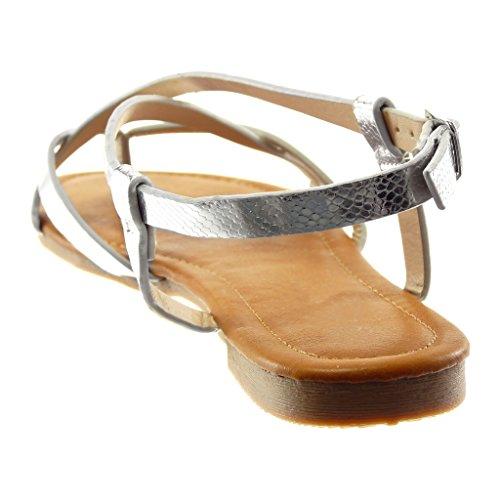 Silber Damenmode Flip Schlangenleder Angkorly Lack Blockabsatz Schuhe Gekreuzte 5 Flops Knöchelriemen 1 Sandalen Riemen cm dTW161Uq