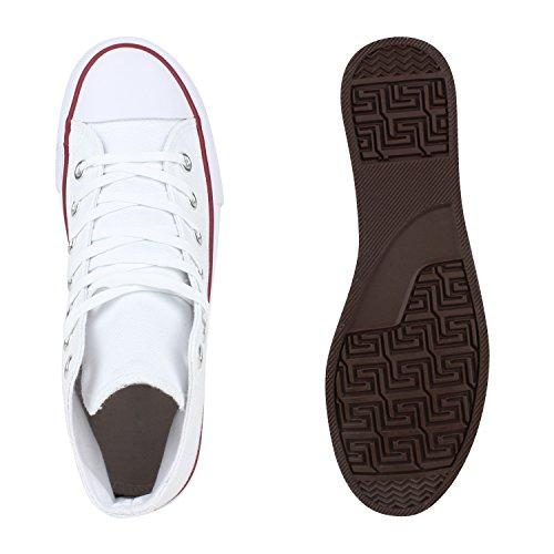 Damen Herren Sneaker Unisex Weiss Übergrößen Rot Stiefelparadies Flandell high p5gqwwRv