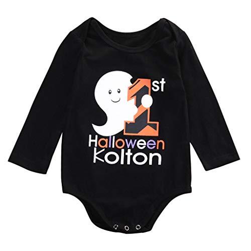 FengGa Infant Baby Boys Girls Halloween Cartoon Print Letter Long Sleeve Romper Jumpsuit Clothes