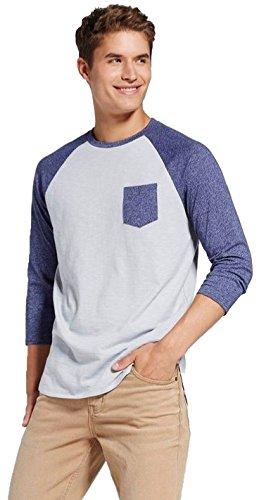 Mossimo Men's 3/4 Sleeve Raglan Tee Shirt With Pocket (Medium, Mood Ring (Mood Rings Blue)