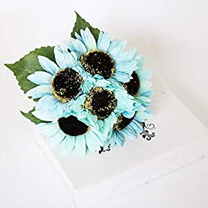 AntranStore Artificial Sunflower Bouquet,6 Flowers per Bunch Fake Sunflowers Artificial Silk Flowers for Home Wedding Party Garden Decor (Blue) 97