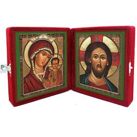 Russian Icons Diptych In Velvet Case Matching Icons Of Virgin of Kazan & Christ 5