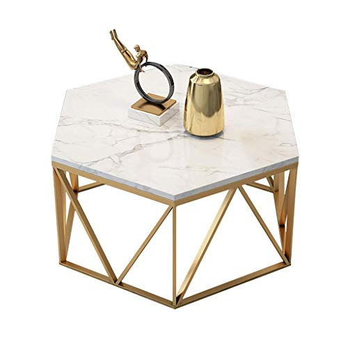 Natural Marble Tabletop - Hexagonal Coffee Table/Negotiation Table, Natural Marble Table Top, Wrought Iron Table Frame, Suitable Foriving Room Study, Office, White, YueQiSong