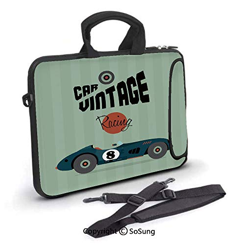 15 inch Laptop Case,Classical Vintage Car Poster Racing Sports Competition Theme Neoprene Laptop Shoulder Bag Sleeve Case with Handle and Carrying & External Side Pocket,for Netbook/MacBook Air Pro