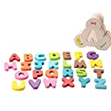 Sunshinetimes Wooden Letter Puzzle Double Sided Alphabet Matching Cards Learning English Early Educational Gift for Kids Toddlers