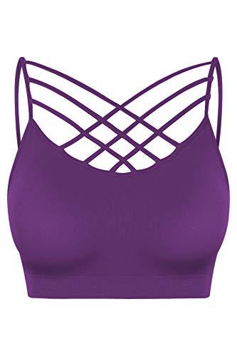 (Women's Seamless Triple Criss-Cross Padded Bralette Sports Bras Purple SM)