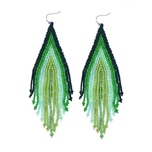 Dangling Handmade Earrings (Bohemia Style Handmade Colorful Beaded Dangling Earrings Women Big Statement Fringe Earrings)