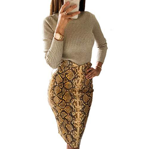 Womens Sexy Animal Leopard Snake Print Skirt Ruffle Flared Pencil Skirt High Waist Bodycon Midi Skirts (Yellow Snake, S)