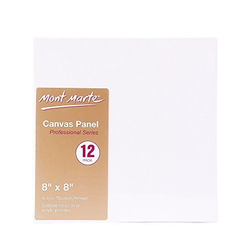 Mont Marte 8x8-Inch Canvas Panel (Pack of 12)