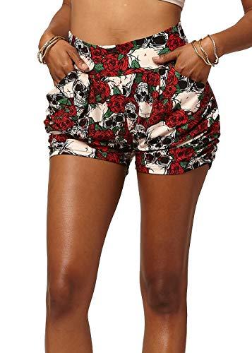 Junior High Fashion - Premium Ultra Soft Harem High Waisted Shorts for Women with Pockets - Carpe Diem - Small/Medium (0-10) - NHS-J281-SM