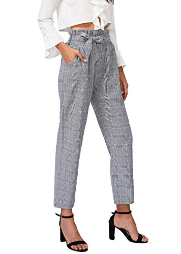 SheIn Women's Ruffle Tie Waist Pants With Pockets Medium Plaid Grey (Womens Pants Plaid)