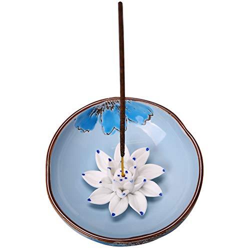 (Herbsum Incense Stick Burner Holder-Handmade Ceramic Lotus Flower Incense Burner-Ceramic Incense Ash Catcher Tray Home Decor Gift(Lotus Bowl))