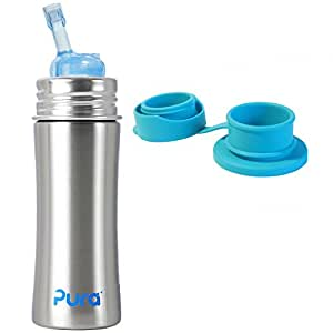 Pura Kiki Stainless Steel Straw Bottle (Natural Stainless) Plus 1 Aqua Blue Big Mouth Sports Top