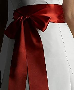DARK RED SASH SATIN BELT BOW SCARF WEDDING,PROM DRESS HANDMADE UK SIZE 3