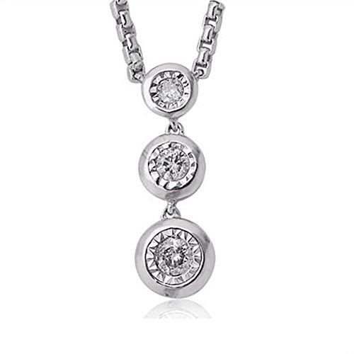 10k White Gold 3 Stone White Diamond Journey Pendant Necklace (0.10 Carat)