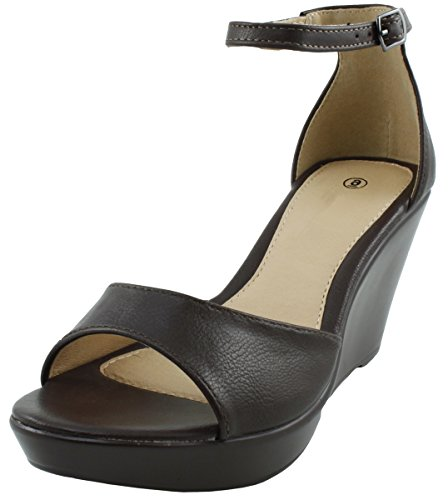 Cambridge Utvalda Womens Öppen Tå Ankel Strappy Plattform Wedge Sandal Choklad