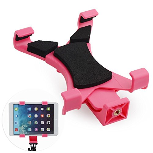 AnKooK Selfie Stick Tablet Tripod Mount Adapter Holder Clamp Clip for Apple iPad 2 3 4 Air 2 Mini 2 3 4, Samsung Galaxy Tab 4 3 2, Microsoft Surface Pro 4 3 2, Google Nexus 7 9 and All Tablets(Pink)