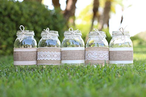 Decorated Lace - Burlap and Lace Sleeves for Mason Jars, QUART SIZE, Sleeves and Twine Only, Set of 12