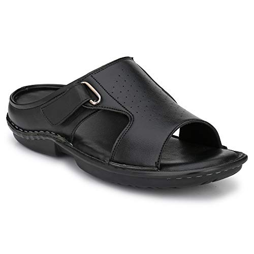 Shences Mens Black Comfortble Cushioned Footbed Sandal