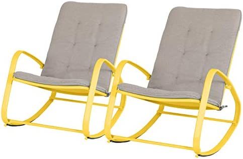 Sophia William Outdoor Rocking Chairs Set of 2 Patio Metal Reclining Rocker Chair