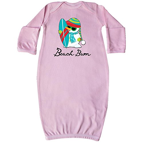 inktastic Beach Bum Surfing Snowman at The Beach Newborn Layette Pink 29ca3 (Surfing Snowman)