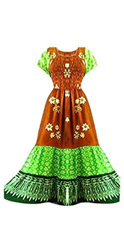3 Braun Grün Design Ethisch Cool Funky Lagig Kaftans Damenkleid amp; Urban Lang Maxikleid HRRvSEq7nw