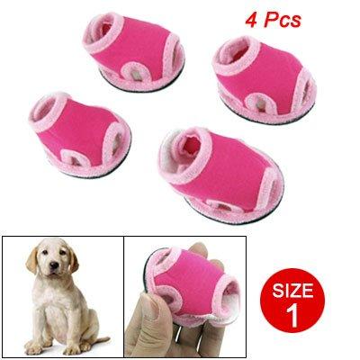 Como Size 1 Nonslip Sole Detachable Closure Doggy Sandals Shoes Pink Magenta 4 Pcs, My Pet Supplies