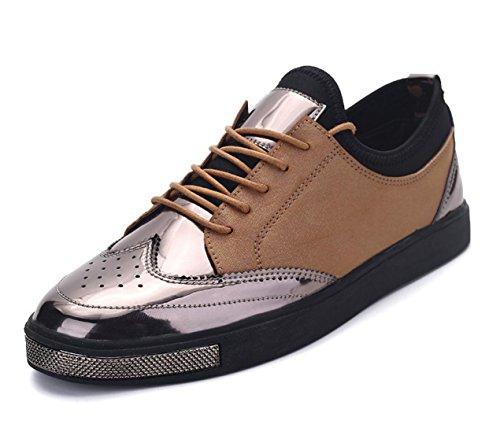 WZG zapatos casuales de los hombres de encaje plana de cuero redondo Inglaterra zapatos de gamuza transpirable estudiantiles Yellow