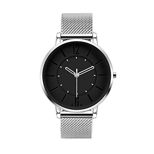 Concise Code Minimalist Simplicity Sterile Unbranded Stainless Steel Ultra Thin Watch (Black) (Stainless Sterile Steel)