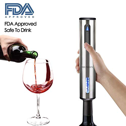 Electric Wine Bottle Opener Automatic Rechargeable Cordless Wine Corkscrew with Charger, Wine Vacuum Stopper, Wine Pourer and Foil Cutter by MUNION (Image #2)