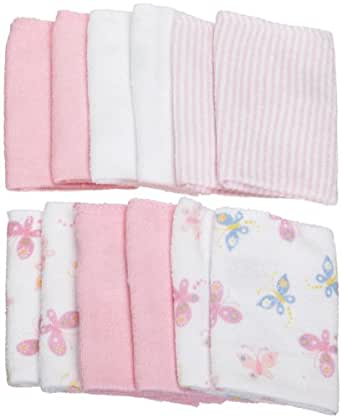 Carter's Watch the Wear 12 Pack Washcloth Set, Butterfly Pink, One Size