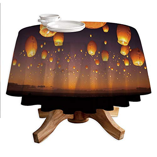 Night Sky Round Polyester Tablecloth,Asian Ceremony Wish for Luck Balloons Chinese Flying Lanterns Scenery Image,Dining Room Kitchen Round Table Cover,70