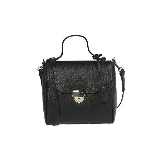 Trussardi mujeres bolso de cuero de dólar genuino, 100% Becerro - 22x20x10 Cm Negro