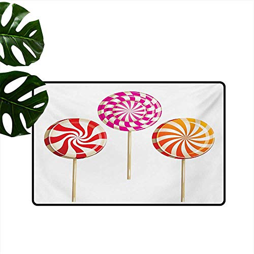 (Indoor Floor mat,Realistic Sugary Treats on Sticks Spiral Round Lolly Pops Delicious Tasty Snacks 24