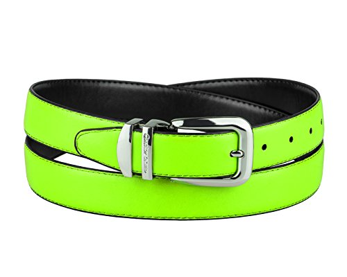CONCITOR Reversible Belt NEON Lime GREEN Black Bonded Leather Silver-Tone Bkl 46