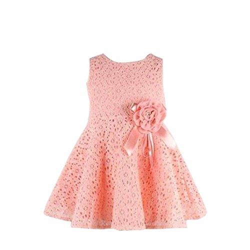 Minisoya Sweet Girls Kids Full Lace Floral Sleeveless Summer Beach Dress Children Cute Baby Girl Princess Party Dress (Pink, 90(Age:0-2Y)) (Girls Designer Party Dresses)