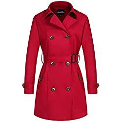 Wantdo Women's Double-Breasted Long Trench Coat With Belt(Red,Small)