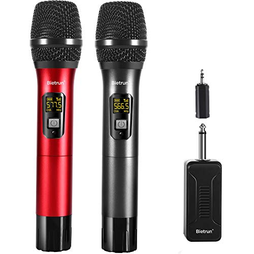 Wireless Microphone, UHF Karaoke Wireless Adult Microphones System Set with Rechargeable Receiver, 260 ft(80M) Range, 6.35&3.5mm Port, for Voice Amplifier, PA System, Singing, Family Karaoke