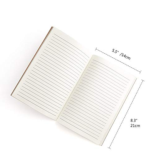 Classic Notebook, Qulaten A5 Wide Hardcover Notebook with Pen Loop, PU Leather Ruled Notebook with Inner Pocket, BusinessNotebooks, 200 Pages, 8.4 x 5.7 in