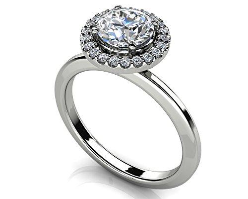 14K Or blanc diamant Bague de fiançailles Enchantment