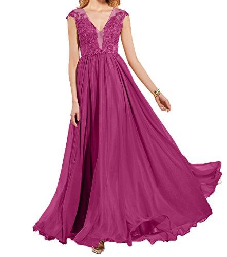 Lang Abendkleider Spitze Damen Elegant Fuchsia mit Applikation Chiffon Linie Sommer Brautmutterkleider A Charmant Partykleider npgRAxqAz