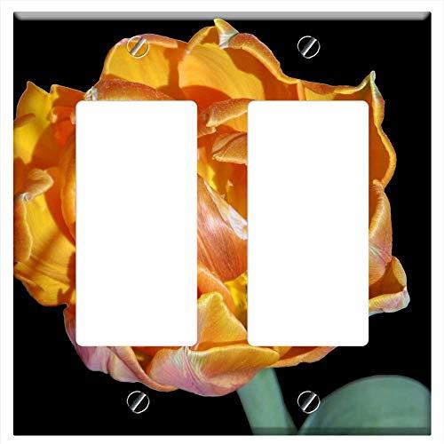 Switch Plate Double Rocker/GFCI - Parrot Tulip Orange Bright Tulipa Flower 1