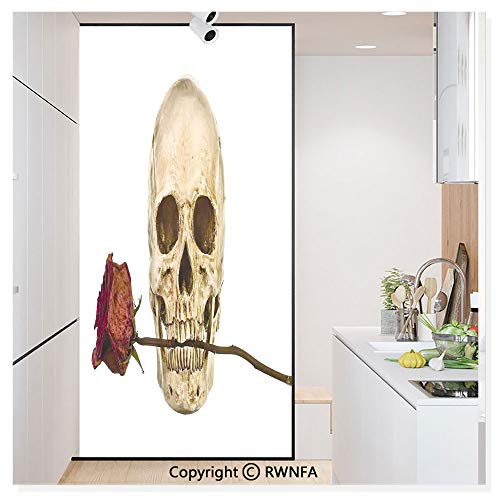 Non-Adhesive Privacy Window Film Door Sticker Skull with Dry Red Rose in Teeth Anatomy Death Eye Socket Jawbone Halloween Art Glass Film 23.6 in. by 78.7in. (60cm by 200cm),]()