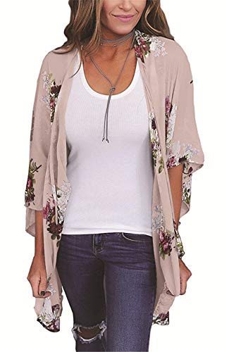 Women's Floral Kimono Cardigan Summer Loose Shawl Chiffon Beach Blouse Cover up Small Light Pink