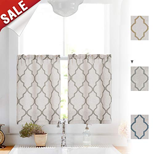 (Linen Kitchen Curtains 36 Length Moroccan Design Cafe Curtains for Window Treatment Set (2 Panels, 26