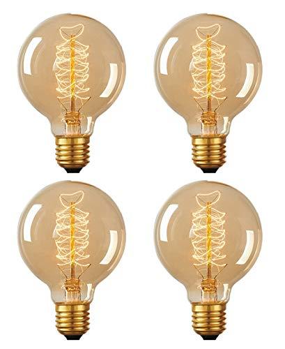 CTKcom G80 40 Watt Vintage Edison Bulbs,Antique Style Dimmable Incandescent Edison Light Bulb for Home Light Fixtures,Coffee Bar Kitchen,E26/E27 Base 110V-130V - Antique Incandescent Light 5