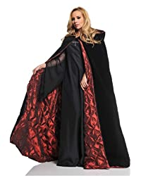 Red Embossed Satin Cape Womens Standard