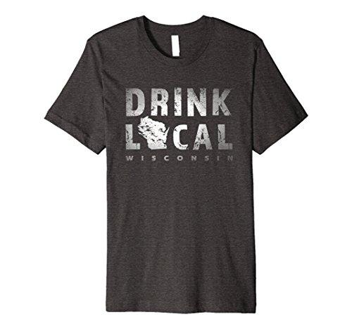 Mens Premium Drink Local Wisconsin Craft Beer WI Badger State Tee 2XL Dark Heather