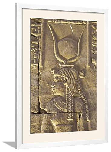 ArtEdge Relief Depicting The Goddess Hathor, Temple of Horus, Edfu, Egypt, North, Africa by Richard Maschmeyer, Wall Art Framed Print, 30x20, Soft White ()