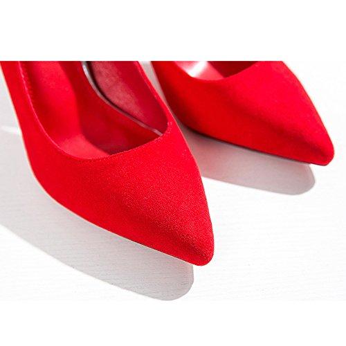 Femme Rouge Strass Hauts Talons Mode Sexy Travail Cour Chaussures Chaussures De Mariage Unique Daim Party Nightclub,Red-9cm-EU:36/UK:4